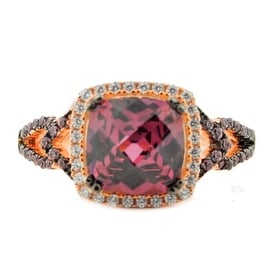 Ladies Fashion Ring Sterling Silver With Rose Gold-Tone Purple and White CZ