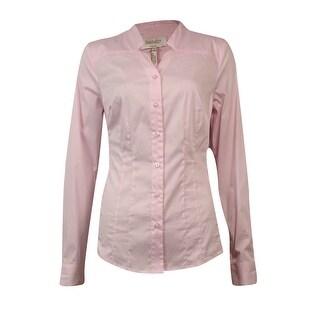 Laundry by Shelli Segal Women's Notch Cotton Buttoned Shirt - sugar pink