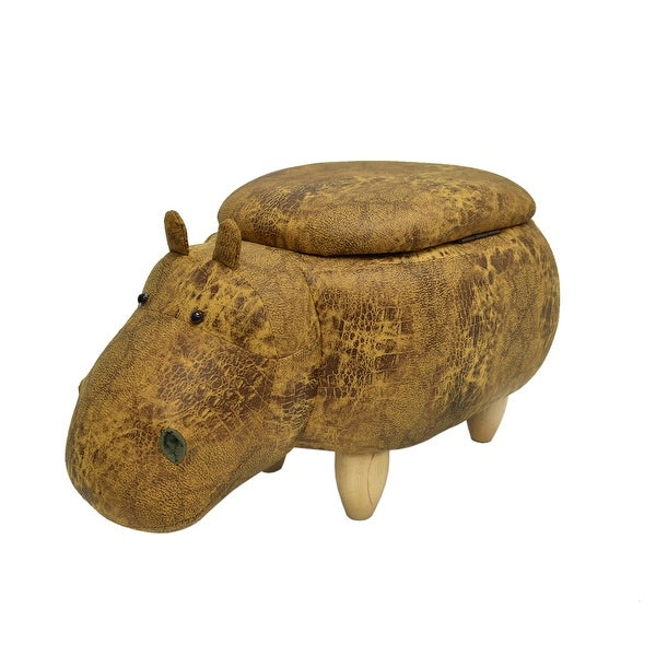 Hippo Shape Wooden Storage Ottoman with Textured Fabric Upholstery, Yellow and Brown
