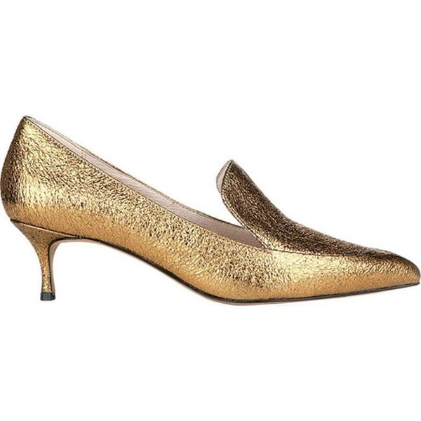 d074229b80d Shop Kenneth Cole New York Women s Shea Kitten Heel Loafer Gold Leather -  Free Shipping Today - Overstock - 19490788