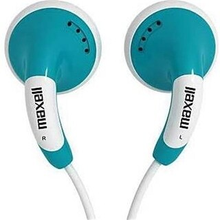 Maxell 4T8500 CBM-B5 Color Bud with Microphone Earset, Blue