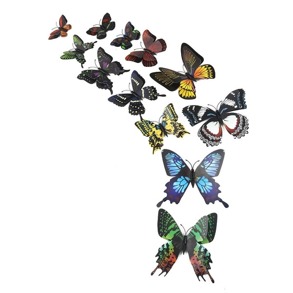 12pcs 3D Butterfly Sticker Pin Type Decal Sticker for Room Decoration Black