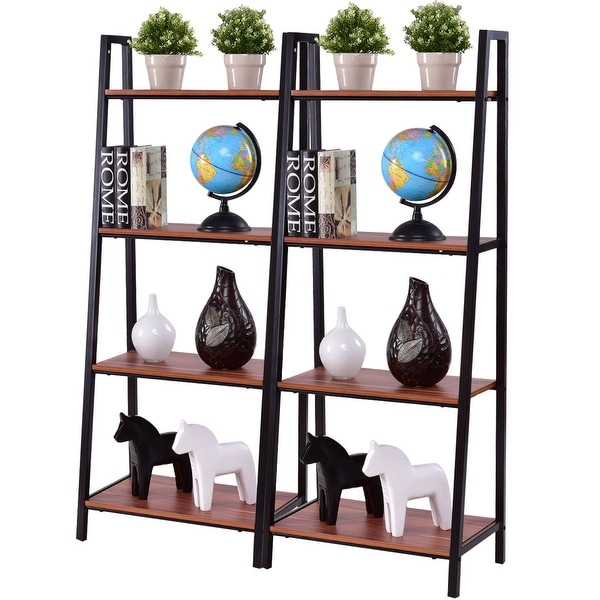 Costway 2PCS 4-Tier Ladder Storage Book Shelf Wall Bookcase Bundle Modern Floor Decor