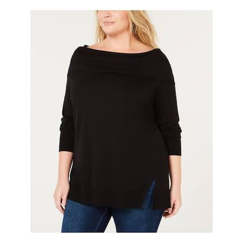 525 AMERICA Womens Black 3/4 Sleeve Boat Neck Top Size 1X