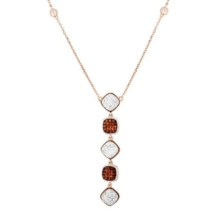 Crystaluxe Square Drop Necklace with Swarovski Crystals in 18K Rose Gold-Plated Sterling Silver - Multi-Color