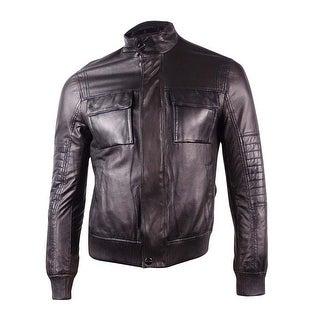 Michael Kors Men's Perforated Leather Bomber Jacket (M, Black) - Black - M