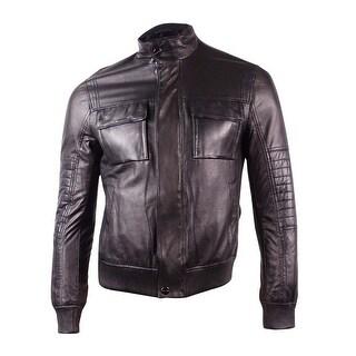 Michael Kors Men's Perforated Leather Bomber Jacket (S, Black) - Black - S