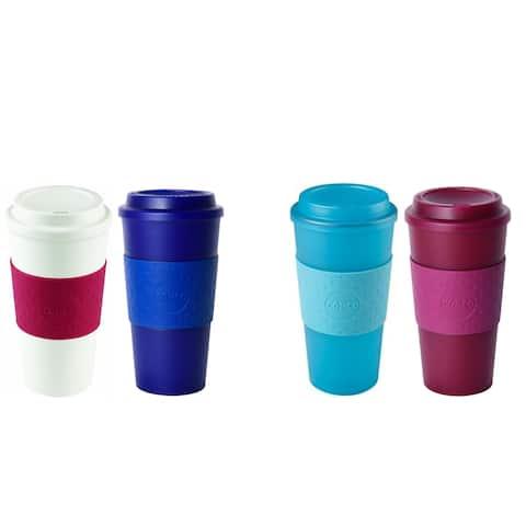 2 Pack Copco Acadia Translucent Reusable BPA Free Plastic Travel Mug Set 16 Oz