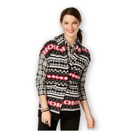 American Living Womens Fair-Isle-Print Sweater Vest, Black, X-Small