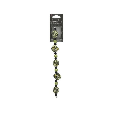 "Cousin Bead Strand 7.25"" Gemstone Speckle Blk/Grn"