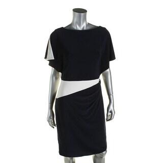 Lauren Ralph Lauren Womens Lea Wear to Work Dress Matte Jersey Colorblock