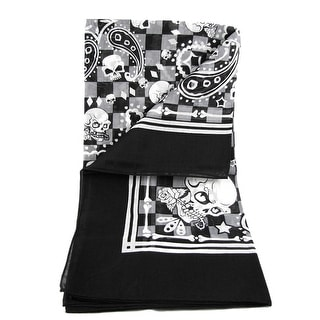 Black / White Paisley Skull Lightweight Head Scarf