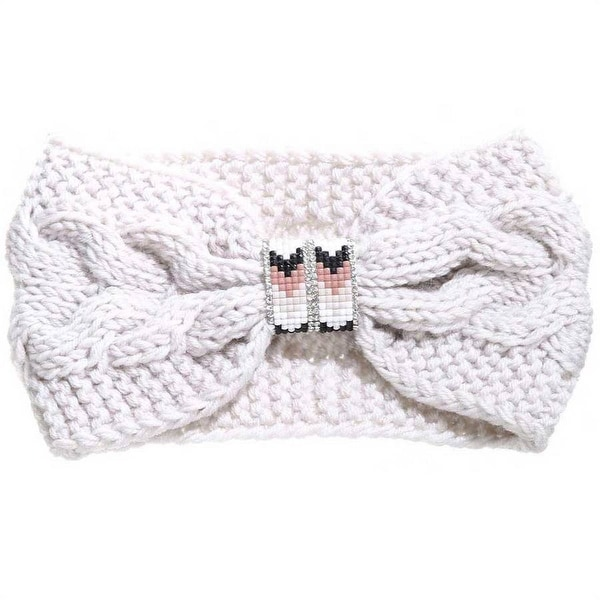 Mad Style Cream Beaded Cableknit Headband