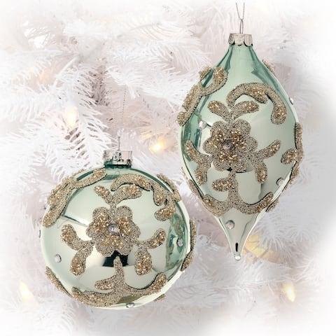 "Glass Beaded Trinity Ball/Kismet Ornament Set Of 2 - 4-6"""