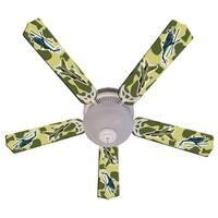Green Military Fighter Jet Custom Designer 52in Ceiling Fan Blades Set - Multi