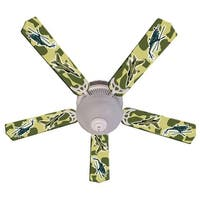 Green Military Fighter Jet Print Blades 52in Ceiling Fan Light Kit - Multi