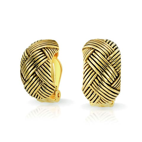 Woven Braided Basket Weave Wide Half Hoop Clip On Earrings Button Style Non Pierced Ears Oxidized Gold Plated Brass