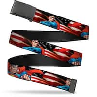 "Blank Black 1.25"" Buckle Superman Poses American Flag Webbing Web Belt 1.25"" Wide - M"