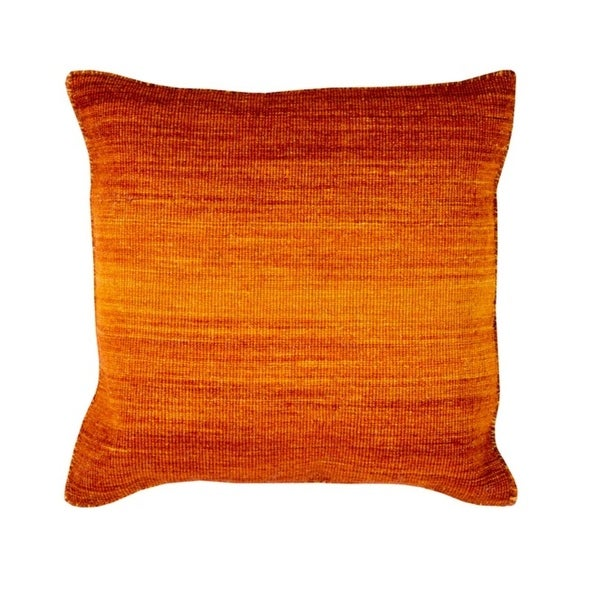 """18"""" Ombre Ambience Cadmium Orange, Dark Pastel Red and Amber Decorative Throw Pillow - Down Filler"""