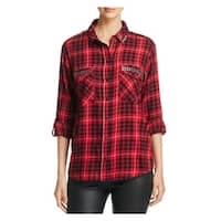 Sanctuary Womens Button-Down Top Studded Plaid