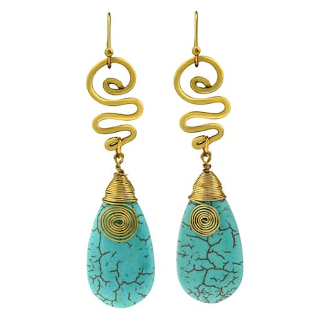 Handmade Brass Turquoise Spirit Swirl Dangle Earrings (Thailand)