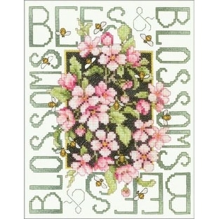 "Bucilla Bees and Blossoms Stamped Cross Stitch Kit - Green - 151/2"" x 11-3/4"""