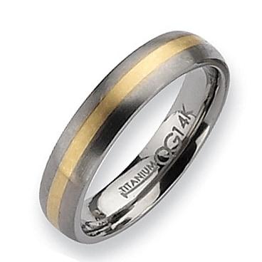 Chisel 14k Gold Inlaid Brushed Titanium Ring (5.0 mm)