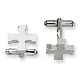 Chisel Cross Shaped Polished Stainless Steel Cuff Links