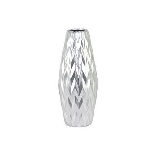 Embossed Wave Design Ceramic Vase With Round Lip, Large, Silver