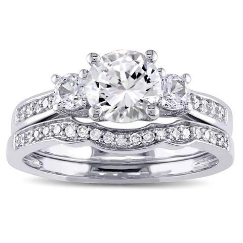 Miadora 10k White Gold Created White Sapphire and 1/6ct TDW Diamond 3-stone Bridal Ring Set (G-H, I2