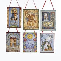 "Pack of 12 Assorted Whimsical Friends and Family Inspirational Plaque Christmas Ornaments 4"" - multi"
