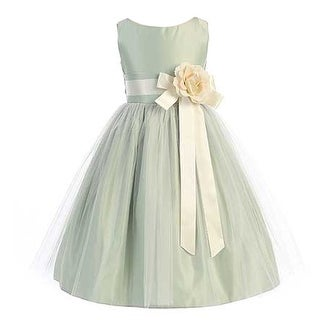 Sweet Kids Girls Sage Ivory Floral Accent Junior Bridesmaid Dress 7-12