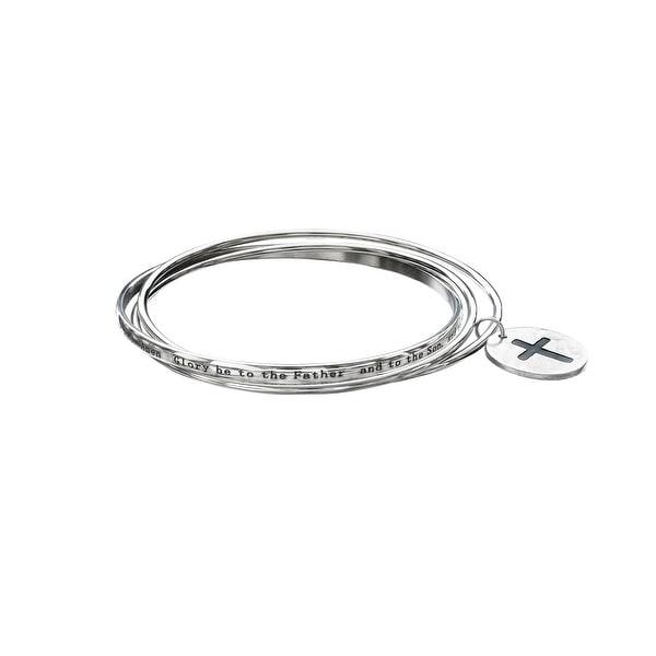 Cross Medallion Charm Bangle Bracelet Set in Stainless Steel