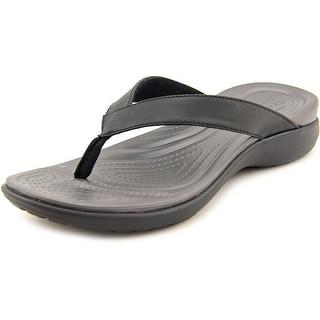 Crocs Capri V Flip Women Open Toe Leather Thong Sandal