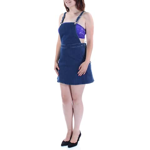 GUESS Womens Blue Side Zip Sleeveless Square Neck Above The Knee Pencil Skirt Size: 6