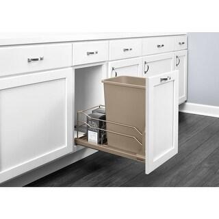 Rev-A-Shelf 53WC-1535SCDM-1 53WC Series Bottom Mount Single Bin Trash Can with Removable Storage Basket - 35 Quart Capacity