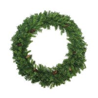 "48"" Dakota Red Pine Artificial Christmas Wreath with Pine Cones - Unlit - green"