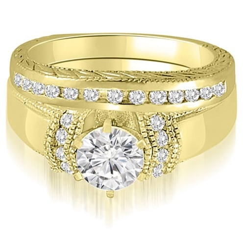 0.85 cttw. 14K Yellow Gold Antique Style Cathedral Round Diamond Bridal Set