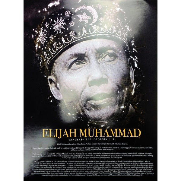 Elijah Muhammad Poster with Biography (18x24) - Multi-Color