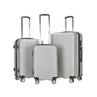 GLOBALWAY 3 Pcs Luggage Travel Set ABS Trolley Suitcase Spinner Hardshell Silver