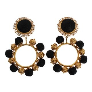 Dolce & Gabbana Black Gold Brass NATALE ClipOn Earring