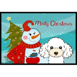 Carolines Treasures BB1877MAT Snowman With White Poodle Indoor & Outdoor Mat 18 x 27 in.