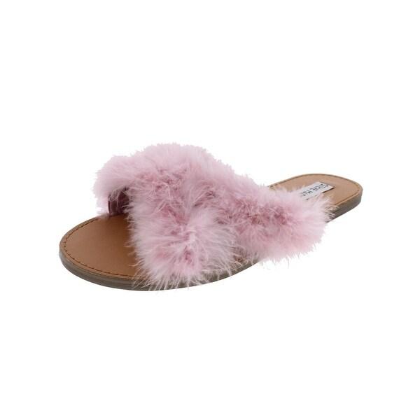 Steve Madden Womens Ciara Flat Sandals Crisscross Feather Strap