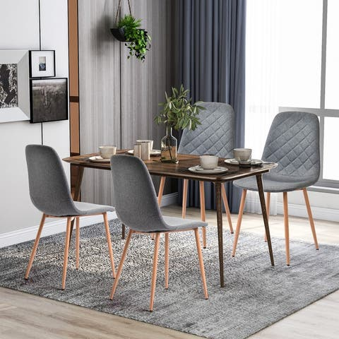 4 PCS Leather Dining chair,Restaurant,Coffee Room, Kitchen Chair,Gray