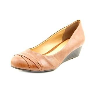 CL By Laundry Melanie Women Open Toe Leather Brown Wedge Heel