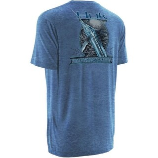 Huk Men's KC Scott Money Fish Small Heather Carolina Blue Short Sleeve Shirt