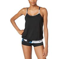 Nike Womens Cascade Active Tankini Top & Shorts 2-Piece Swimsuit Small Black