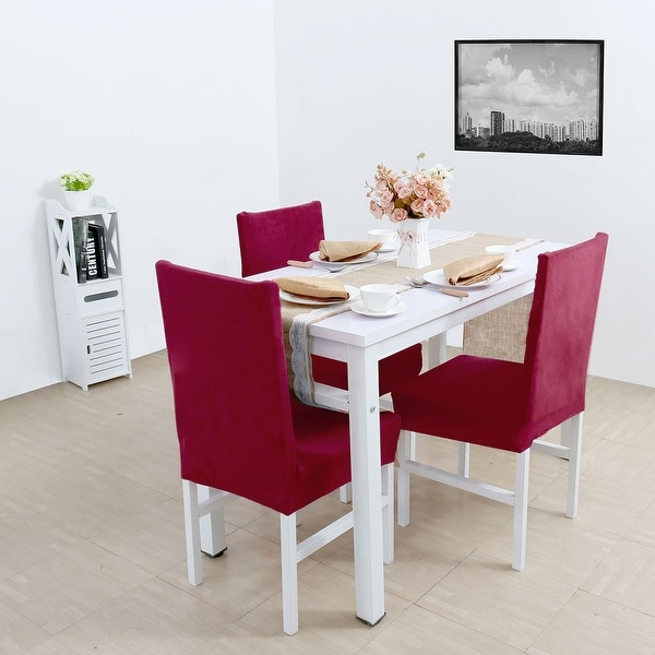 Stretch Thicken Plush Short Dining Room Chair Covers Seat Protector ...