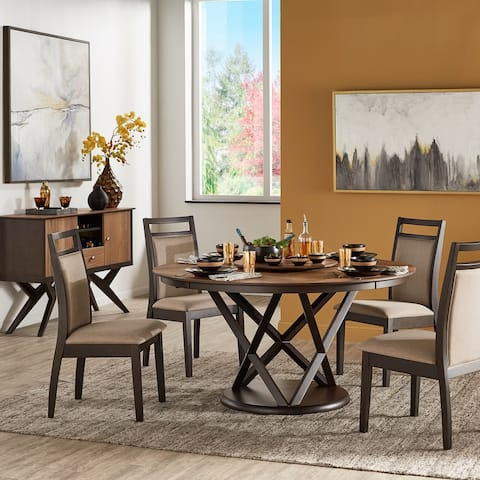 Priya Two-Tone 5-Piece Dining Set with Lazy Susan Turntable by iNSPIRE Q Modern