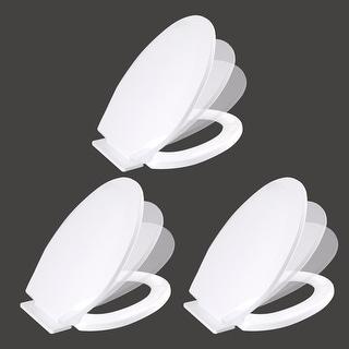 3 Toilet Seat Slow EZ Close No Slam Plastic Elongated White